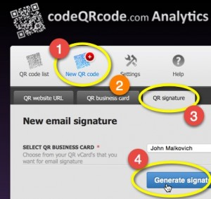How to create mail signature qr code