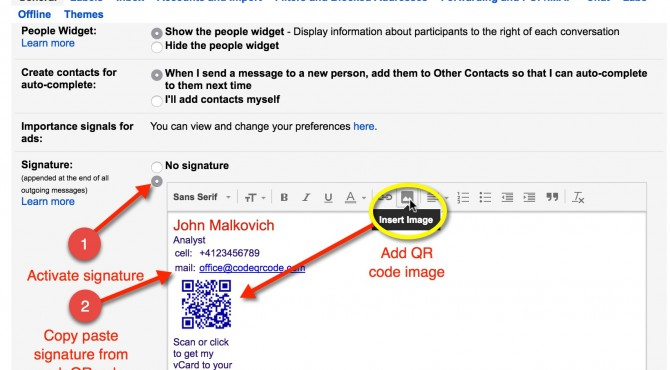 Gmail signature with qr code