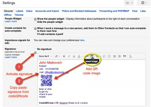 GMail mail signature add QR code and text